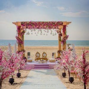 wedding on white sand beach in goa