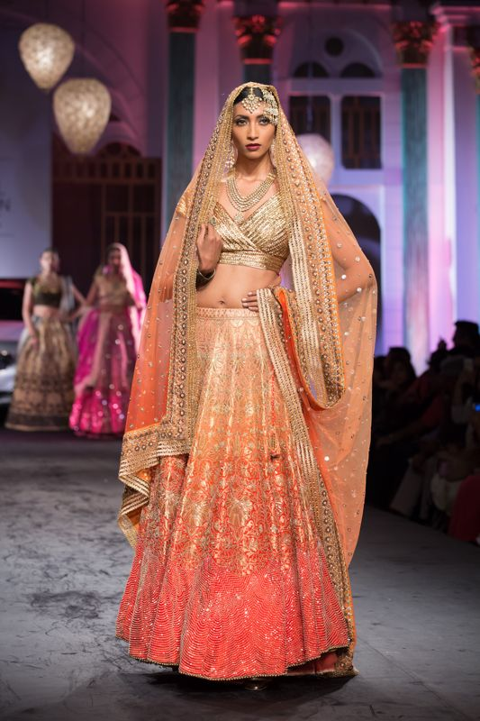 bridal peach and gold lehenga